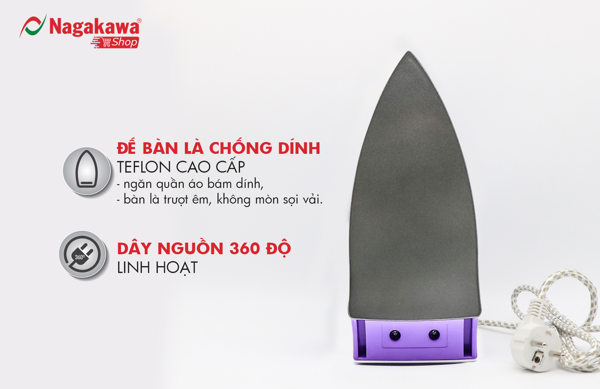 Bàn Ủi Khô Nagakawa NAG1502 - Hàng Chính Hãng